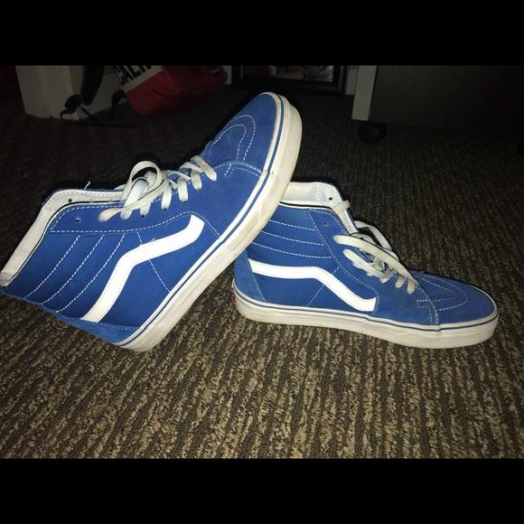 blue suede vans high tops
